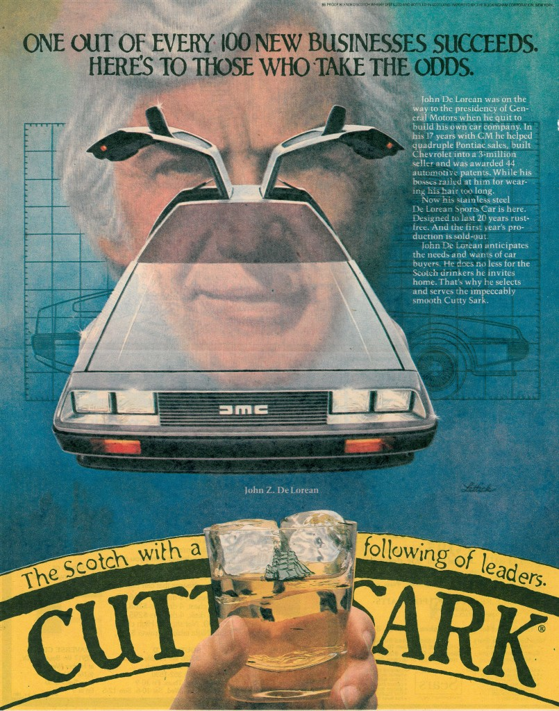 A toast to John DeLorean was made in this 1980 whiskey ad