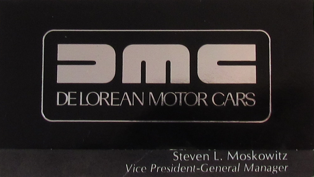 AACA Director Steve Moscowitz's DeLorean business card