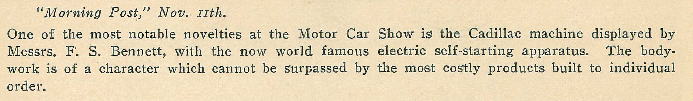 Quote from the London Morning Post - November 11, 1912