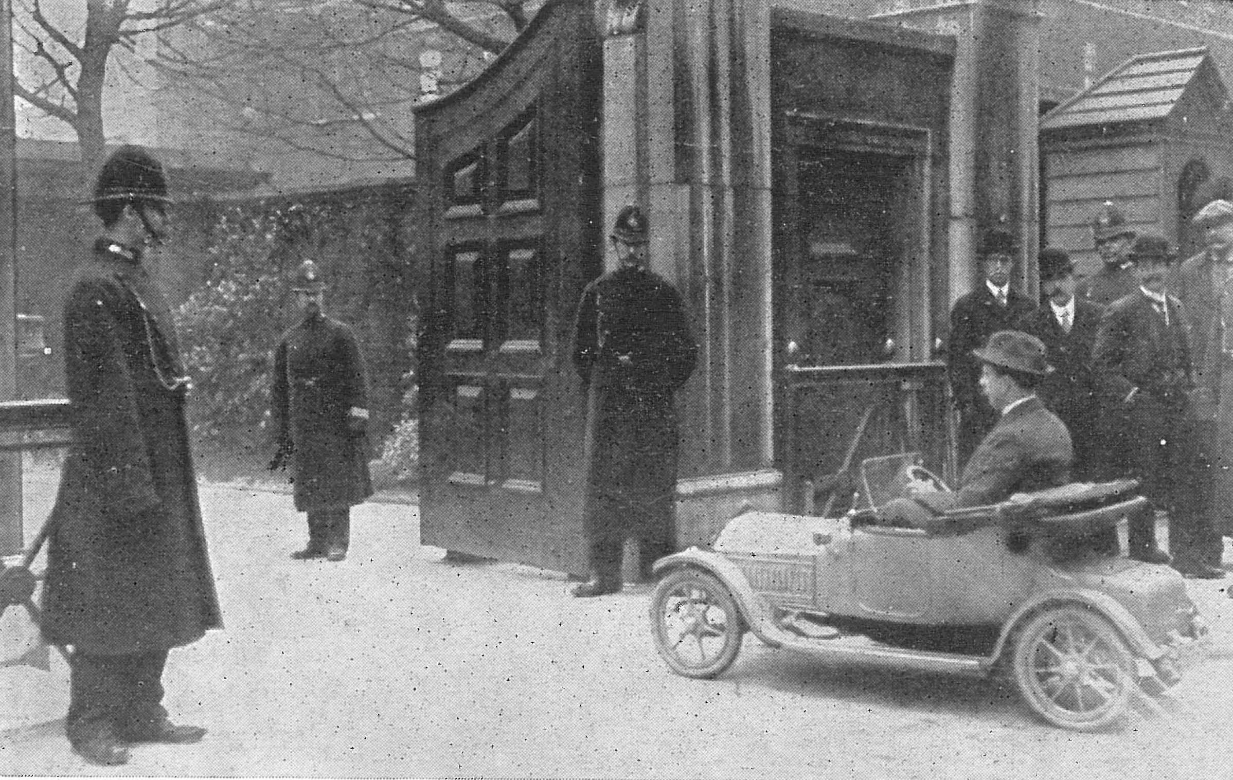 Seen here is Prince Olaf's car been delivered to Queen Alexandra's residence at Marlborough House.