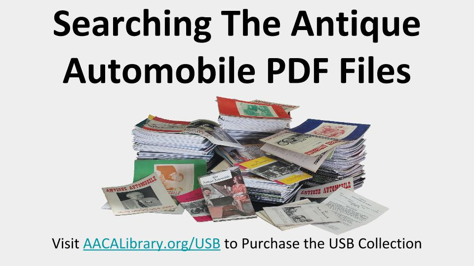 Searching Antique Automobile PDF Files