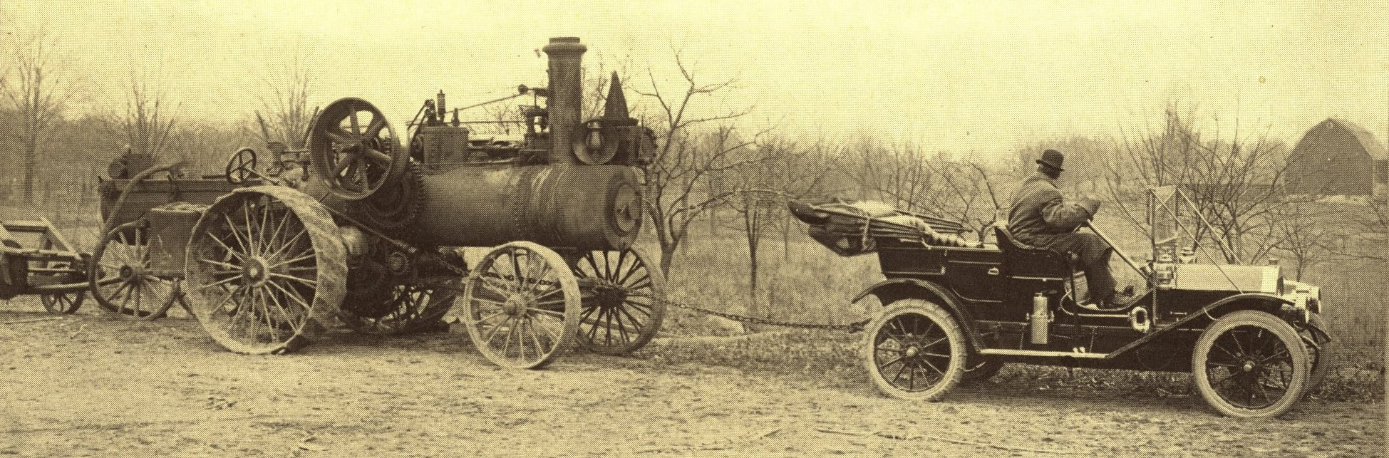 Cartercar Towing a Steam Traction Engine - from circa 1910 catalog