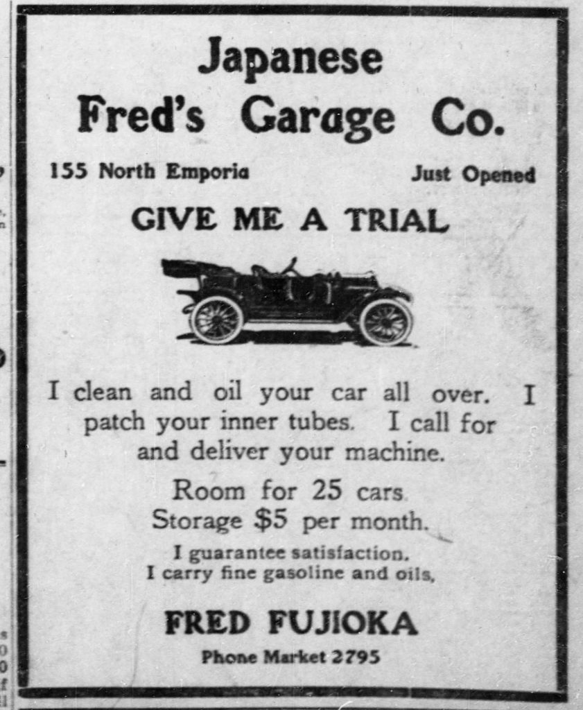 Ad for Japanese Fred's Garage - 1912